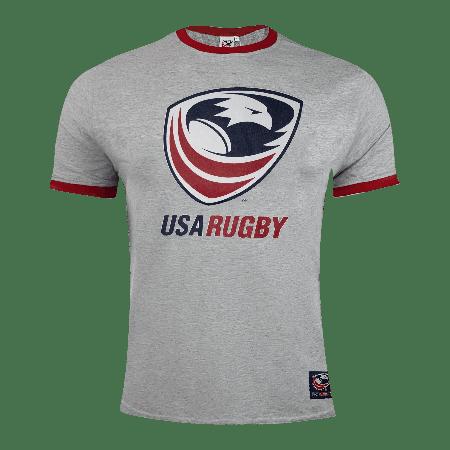 USA Rugby Men's Grey Ringer T-Shirt