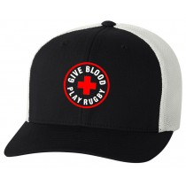 Give Blood Play Rugby Flexfit Trucker Cap