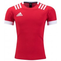 Adidas 3 Stripes Rugby Jersey - Red