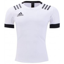 Adidas 3 Stripes Rugby Jersey - White