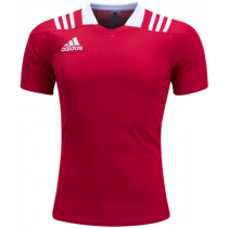 Adidas 3 Stripes Fitted Men's Rugby Jersey - Red